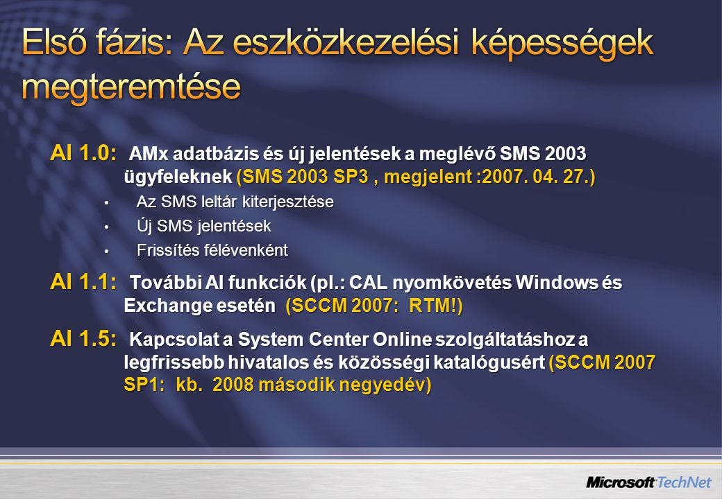 DCM Digests ConfigMgr Admin Konzol ConfigMgr Admin Konzol ConfigMgr Szerver Windows Server 2003 CI Windows Server 2003 CI CI401K Alkalmazás CI401K Alkalmazás Antivirus Software CI Antivirus Software CI SCCM 2007 adatbázis 401(k) Alkalmazás Szerver alapszint 401(k) Alkalmazás Szerver alapszint ConfigMgr Ügyfél Felügyelt rendszer WMI XML Registry IIS MSI 1 CI-k létrehozása érvényes CI dokumentumok importálásával 2 Új CI létrehozása szerkesztéssel 3 A konfigurációs Alapszint létre Hozása CI-kkel A konfigurációs alapszintet kliens Gépekhez rendeljük 4 A DCM felfedezi A CI-ket és ellenőrzi az adatokat a szabályokkal szemben 5 A megfelelőségi Riportot a Config.