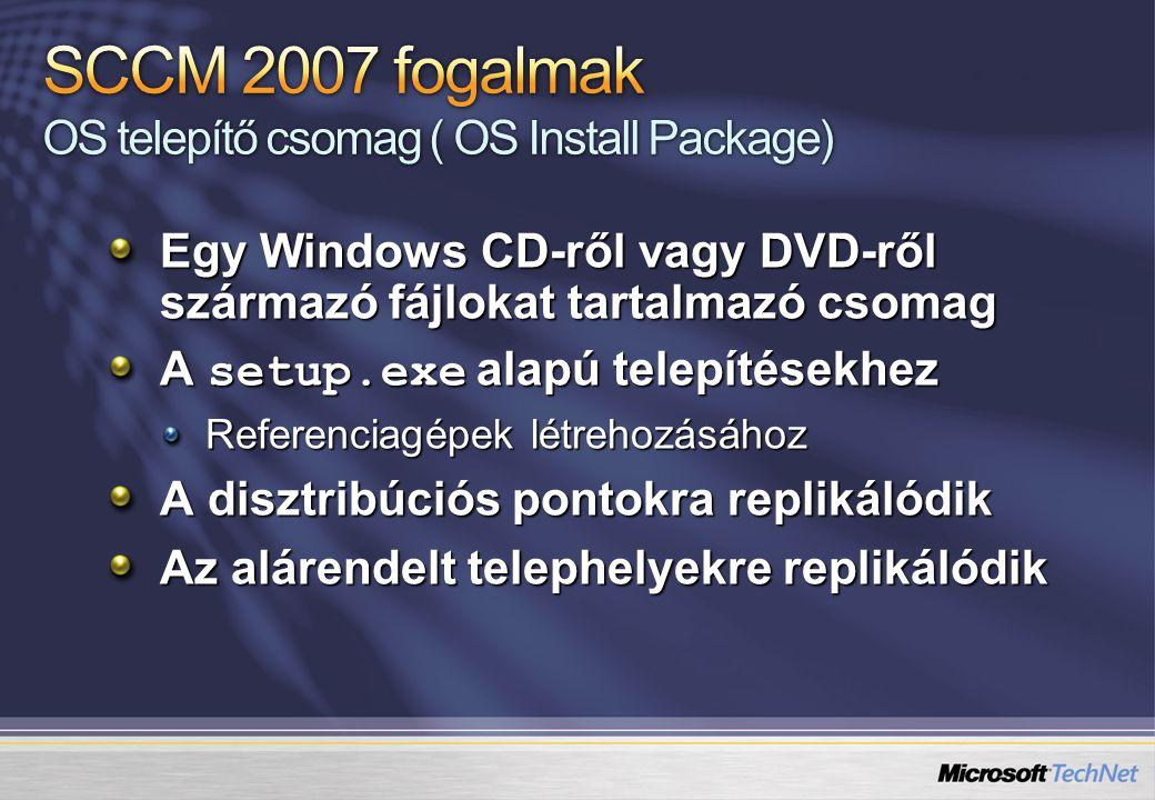 Egy Windows CD-ről vagy DVD-ről származó fájlokat tartalmazó csomag A setup.exe alapú telepítésekhez Referenciagépek létrehozásához A disztribúciós po