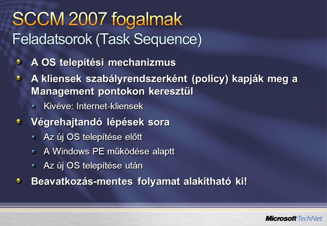 A OS telepítési mechanizmus A kliensek szabályrendszerként (policy) kapják meg a Management pontokon keresztül Kivéve: Internet-kliensek Végrehajtandó