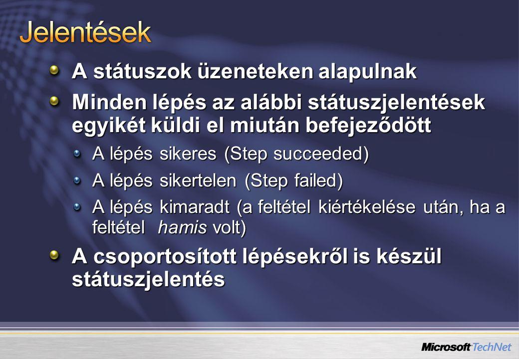 A státuszok üzeneteken alapulnak Minden lépés az alábbi státuszjelentések egyikét küldi el miután befejeződött A lépés sikeres (Step succeeded) A lépé