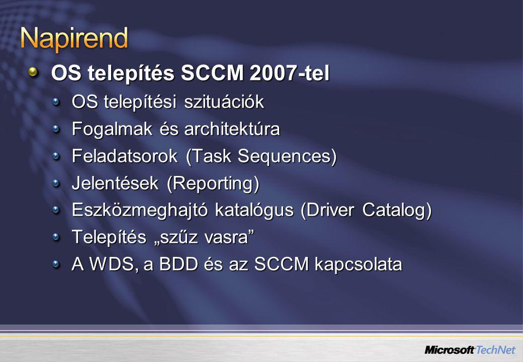 OS telepítés SCCM 2007-tel OS telepítési szituációk Fogalmak és architektúra Feladatsorok (Task Sequences) Jelentések (Reporting) Eszközmeghajtó katal