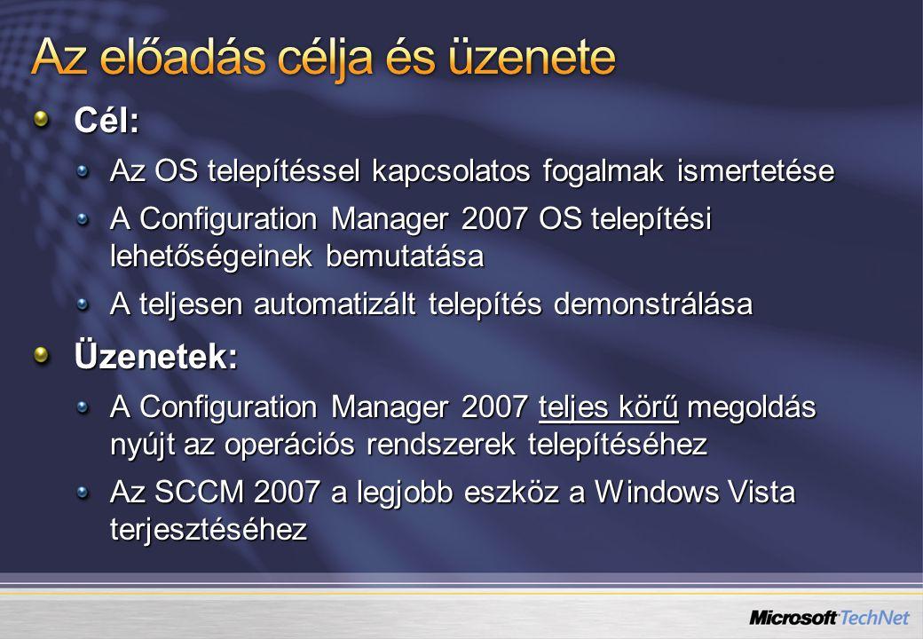 Cél: Az OS telepítéssel kapcsolatos fogalmak ismertetése A Configuration Manager 2007 OS telepítési lehetőségeinek bemutatása A teljesen automatizált
