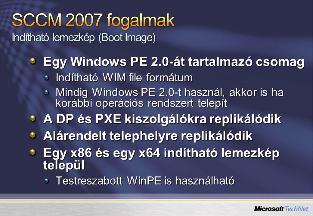 Egy Windows PE 2.0-át tartalmazó csomag Indítható WIM file formátum Mindig Windows PE 2.0-t használ, akkor is ha korábbi operációs rendszert telepít A