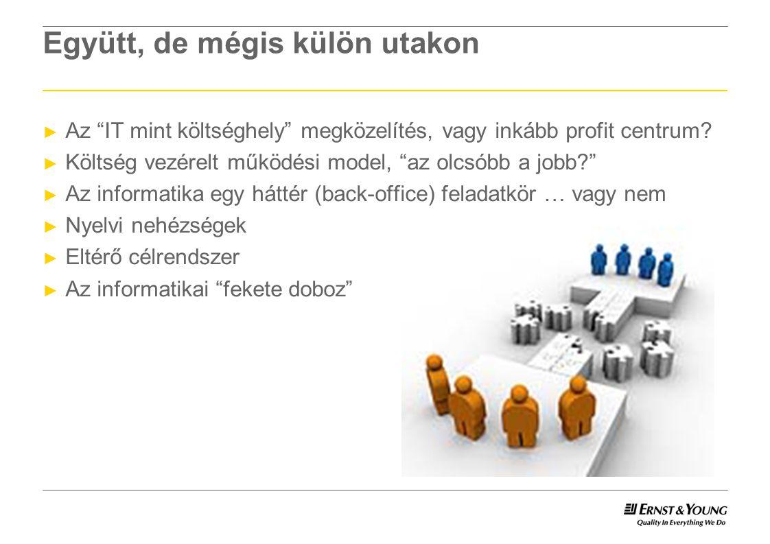 Együtt, de mégis külön utakon ► Az IT mint költséghely megközelítés, vagy inkább profit centrum.