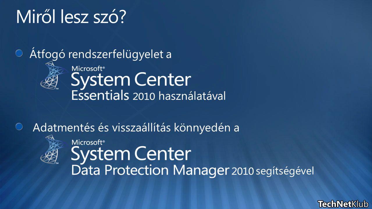 File szolgáltatások Támogatott rendszerek: Windows Server 2003-2008 R2 Végfelhasználó által kezdeményezett visszaállítás közvetlenül a Windows Explorer-ből vagy a Microsoft Office-ból SQL Támogatott rendszerek: SQL Server 2000-2008, beleértve az SAP® rendszert is A teljes SQL instance mentése – új adatbázisok automatikus védelme Egy DPM szerver 2000 adatbázist képes menteni Új eszköz a DBA-k számára: Self-Service Restore Tool Az SQL 2005 mentett adatbázisai akár SQL 2008 kiszolgálókra is visszaállíthatóak SharePoint Támogatott rendszerek: Office 14, MOSS 2007 és SPS 2003 A farmon belül létrejövő új adatbázisok automatikus mentése A farm csak egyben menthető, de az elemszintű visszaállítás támogatott Exchange Támogatott rendszerek: Exchange 2003-2010 DPM optimalizáció az SCC, CCR, SCR, DAG és az ESE offloading technológiákhoz