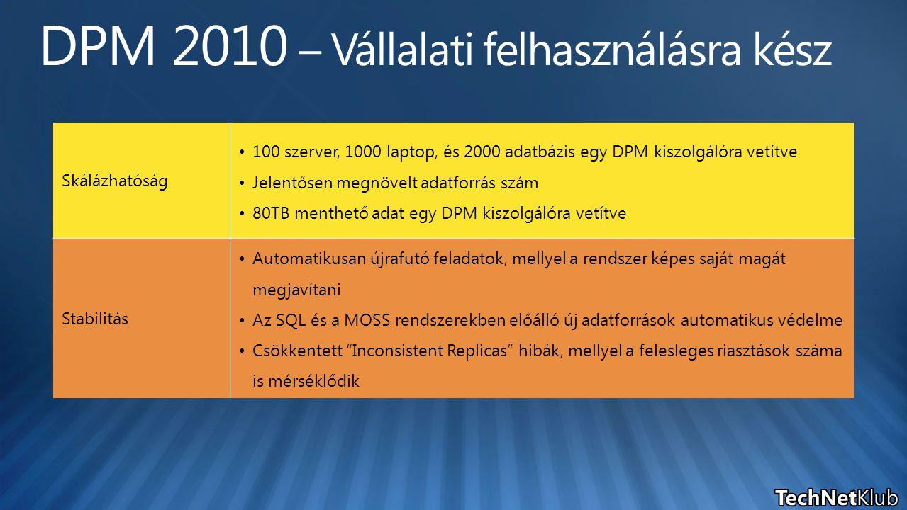 Skálázhatóság 100 szerver, 1000 laptop, és 2000 adatbázis egy DPM kiszolgálóra vetítve Jelentősen megnövelt adatforrás szám 80TB menthető adat egy DPM kiszolgálóra vetítve Stabilitás Automatikusan újrafutó feladatok, mellyel a rendszer képes saját magát megjavítani Az SQL és a MOSS rendszerekben előálló új adatforrások automatikus védelme Csökkentett Inconsistent Replicas hibák, mellyel a felesleges riasztások száma is mérséklődik