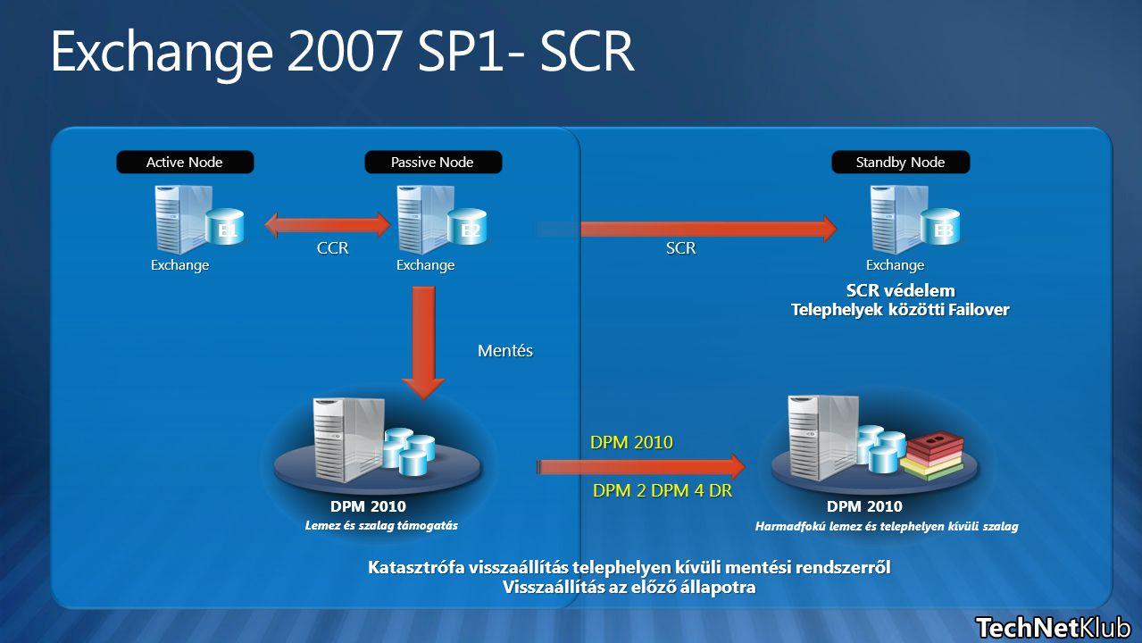 Standby Node E3 SCR védelem Telephelyek közötti Failover Exchange SCR Lemez és szalag támogatás DPM 2010 CCR Exchange Active Node E1 Exchange Passive Node E2 Mentés Lemez és szalag támogatás DPM 2010 Harmadfokú lemez és telephelyen kívüli szalag DPM 2010 DPM 2 DPM 4 DR DPM 2010 Katasztrófa visszaállítás telephelyen kívüli mentési rendszerről Visszaállítás az előző állapotra