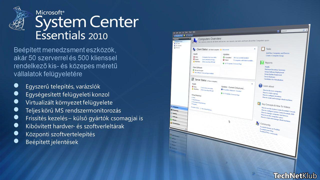 SQL 2005 SQL 2008 Éles rendszer Tesztelési és fejlesztési célokra Tesztelési és fejlesztési célokra Produktív környezetekhez Produktív környezetekhez Lemez és szalag támogatással DPM 2010 Adatbázis védelme Visszaállítás migráció