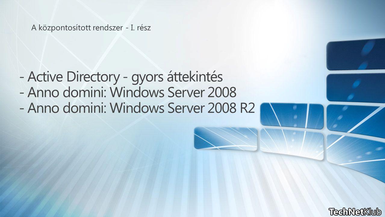 - Active Directory - gyors áttekintés - Anno domini: Windows Server 2008 - Anno domini: Windows Server 2008 R2