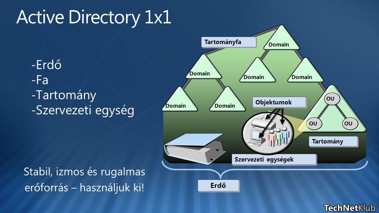 Domain OU Tartományfa Tartomány Erdő Szervezeti egységek Objektumok - Erdő - Fa - Tartomány - Szervezeti egység Stabil, izmos és rugalmas erőforrás – használjuk ki!