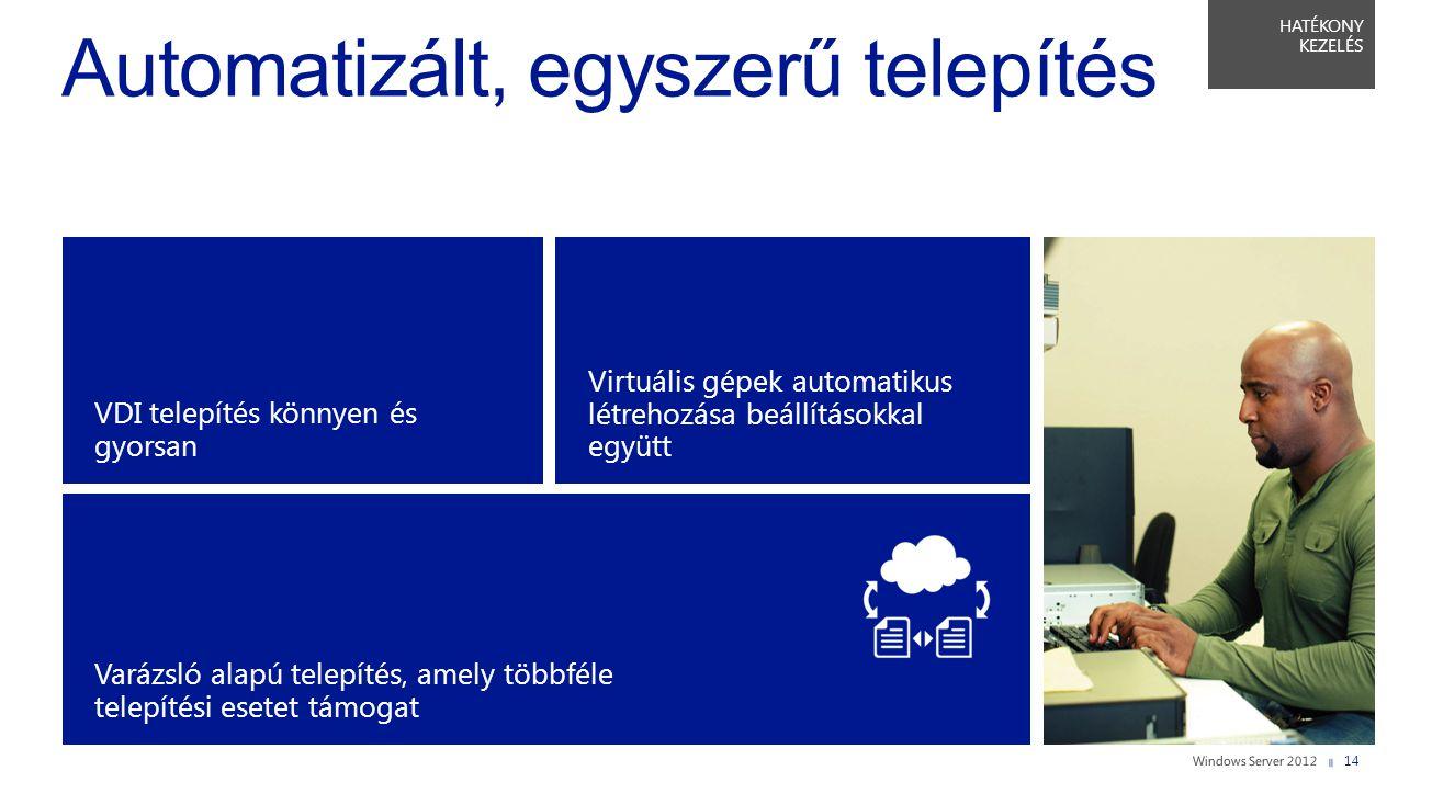 HATÉKONY KEZELÉS VDI telepítés könnyen és gyorsan Varázsló alapú telepítés, amely többféle telepítési esetet támogat Virtuális gépek automatikus létre