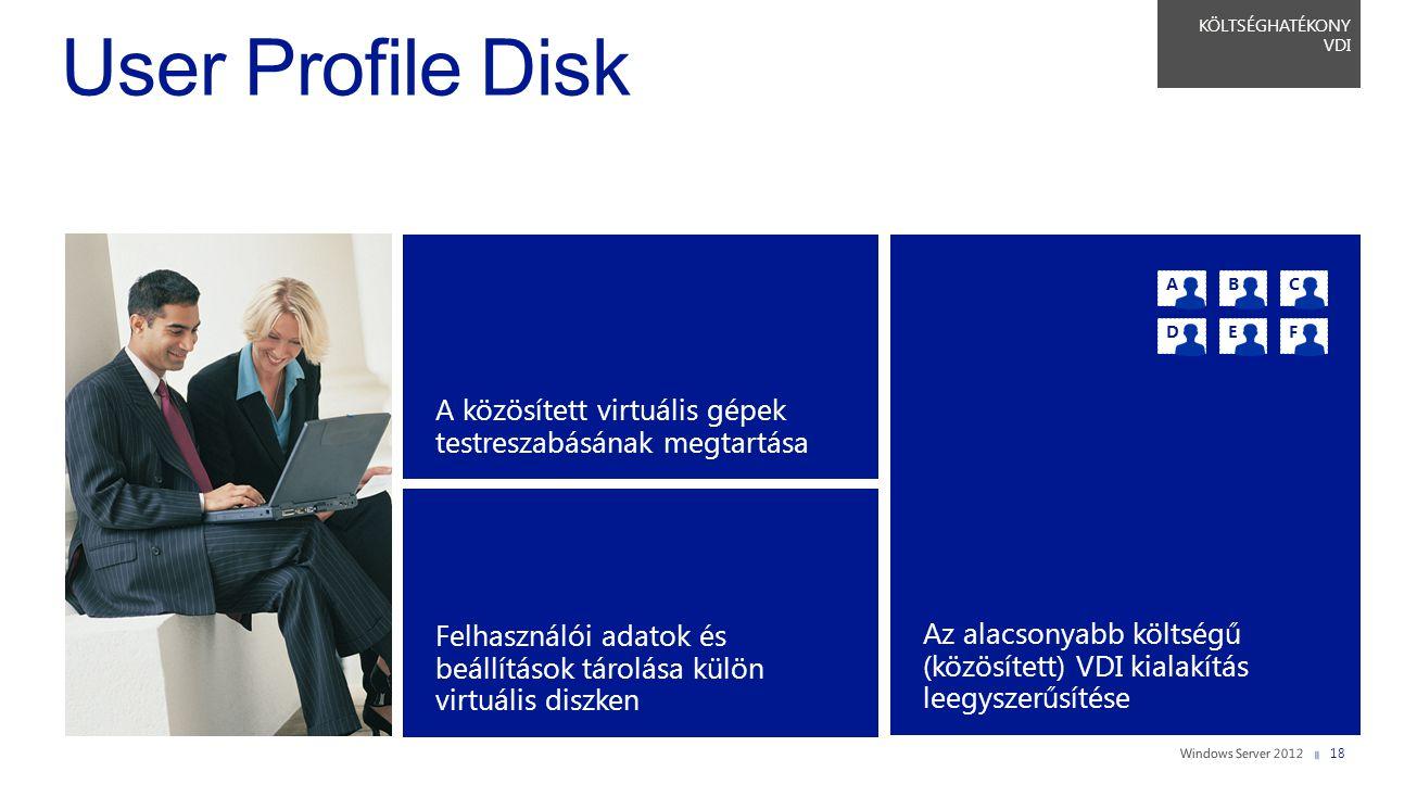 KÖLTSÉGHATÉKONY VDI A közösített virtuális gépek testreszabásának megtartása Felhasználói adatok és beállítások tárolása külön virtuális diszken Az al