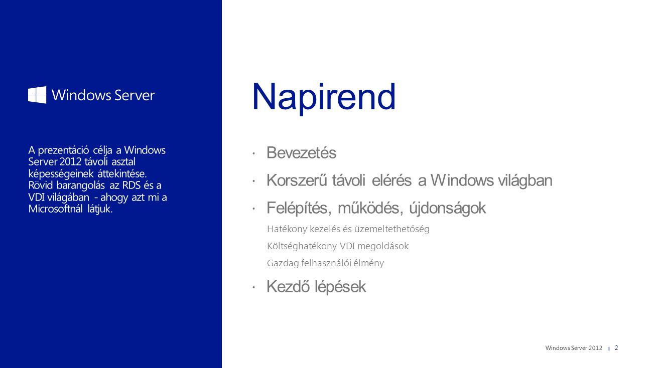2  Bevezetés  Korszerű távoli elérés a Windows világban  Felépítés, működés, újdonságok Hatékony kezelés és üzemeltethetőség Költséghatékony VDI me
