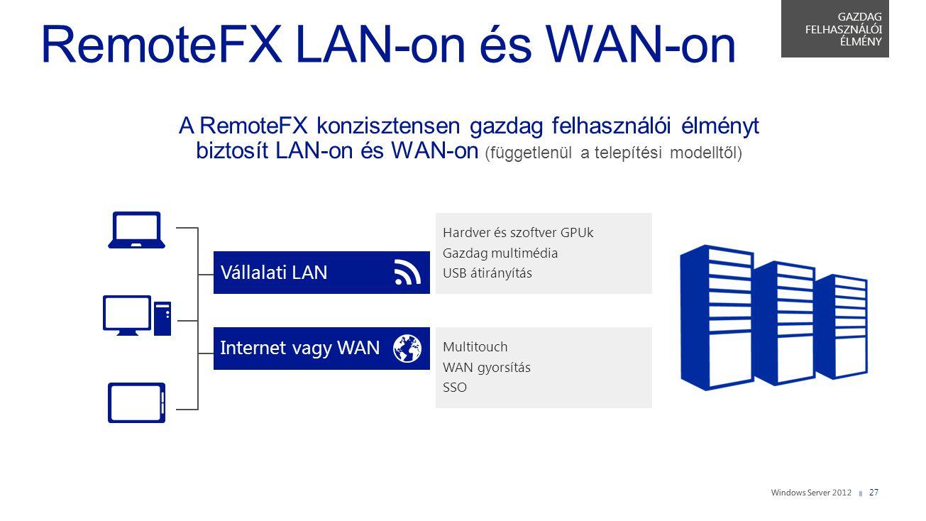 Hardver és szoftver GPUk Gazdag multimédia USB átirányítás Multitouch WAN gyorsítás SSO Vállalati LAN A RemoteFX konzisztensen gazdag felhasználói élm