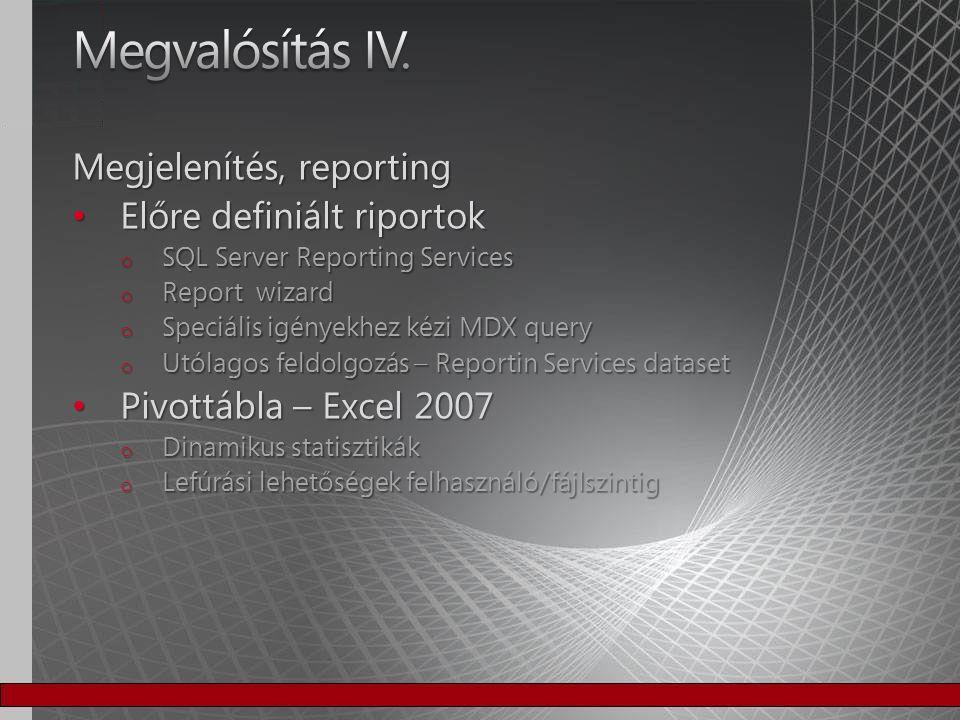 Megjelenítés, reporting Előre definiált riportok Előre definiált riportok o SQL Server Reporting Services o Report wizard o Speciális igényekhez kézi