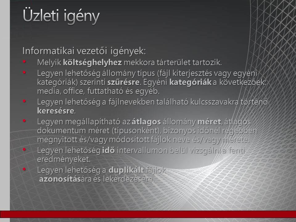 Platform független Platform független − Unix és Windows fájlszerver felmérés − Ne módosítsa a fájlok tulajdonságait Duplikátumok szűrése hash alapján történjen Duplikátumok szűrése hash alapján történjen Dinamikus riportok és statisztikák is rendelkezésre álljanak Dinamikus riportok és statisztikák is rendelkezésre álljanak Külső adatforrások megadása Külső adatforrások megadása − Szervezeti hierarchia − Fájltípustok kategorizálása − Jogosultsági hierarchia megállapítása AD -ból Ne legyen szükség fejlesztésre Ne legyen szükség fejlesztésre