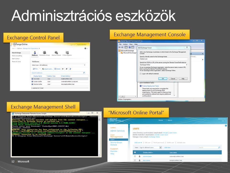 "Exchange Management Console ""Microsoft Online Portal"" Exchange Management Shell Exchange Control Panel 12 | Microsoft"