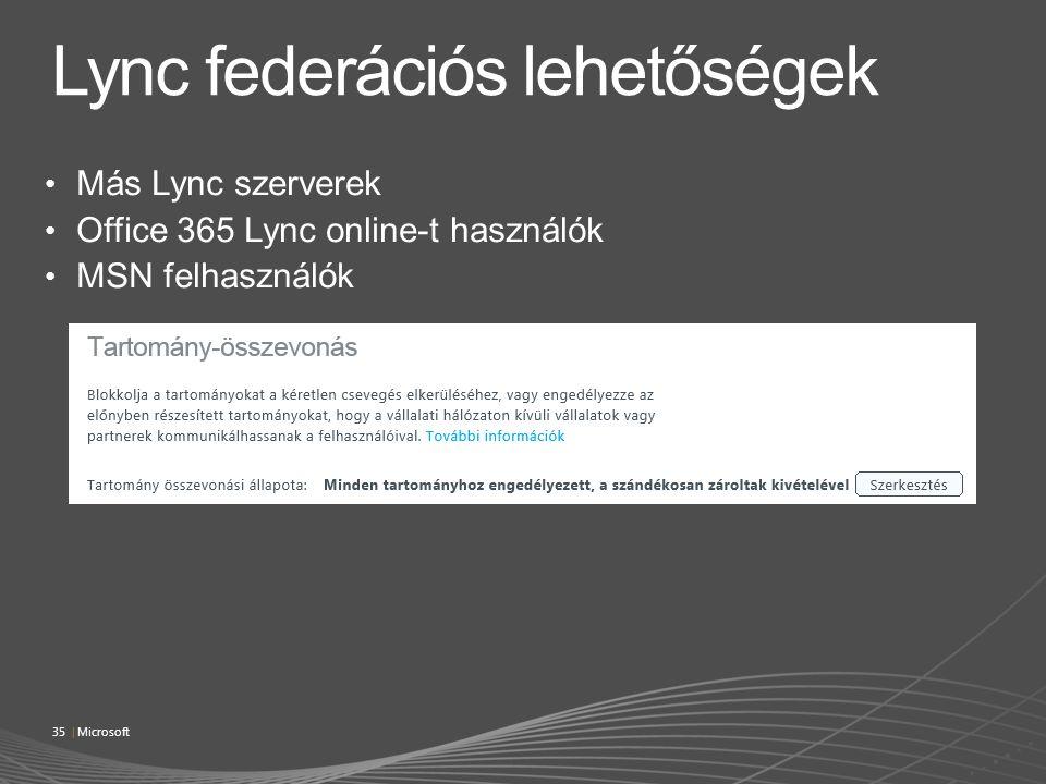 Más Lync szerverek Office 365 Lync online-t használók MSN felhasználók 35 | Microsoft