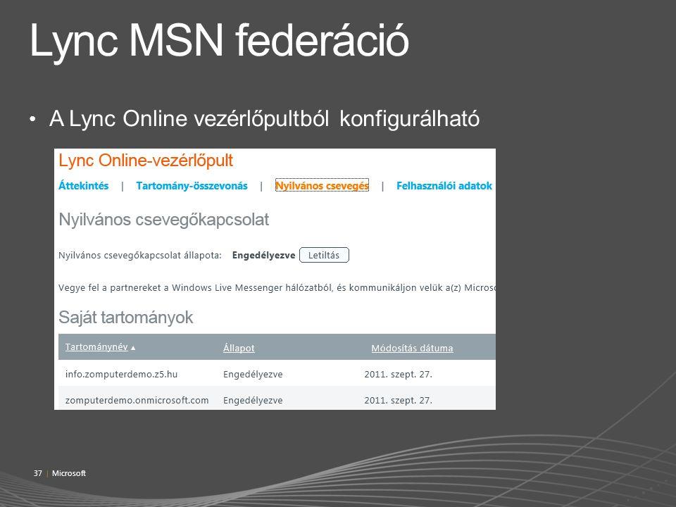 A Lync Online vezérlőpultból konfigurálható 37 | Microsoft