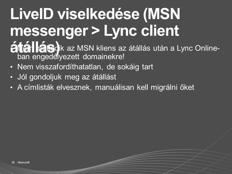 Nem működik az MSN kliens az átállás után a Lync Online- ban engedélyezett domainekre! Nem visszafordíthatatlan, de sokáig tart Jól gondoljuk meg az á