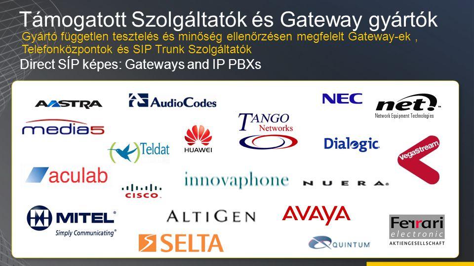 Támogatott Szolgáltatók és Gateway gyártók Direct SÍP képes: Gateways and IP PBXs Gyártó független tesztelés és minőség ellenőrzésen megfelelt Gateway-ek, Telefonközpontok és SIP Trunk Szolgáltatók