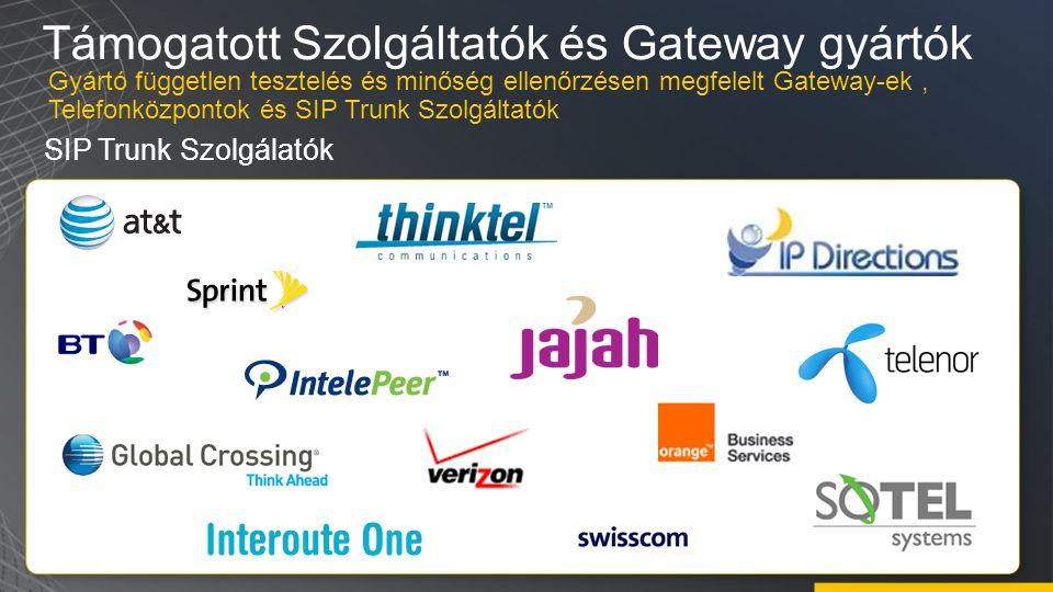 Támogatott Szolgáltatók és Gateway gyártók SIP Trunk Szolgálatók Gyártó független tesztelés és minőség ellenőrzésen megfelelt Gateway-ek, Telefonközpontok és SIP Trunk Szolgáltatók