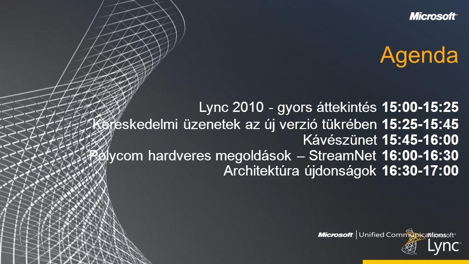 Agenda Lync 2010 - gyors áttekintés 15:00-15:25 Kereskedelmi üzenetek az új verzió tükrében 15:25-15:45 Kávészünet 15:45-16:00 Polycom hardveres megoldások – StreamNet 16:00-16:30 Architektúra újdonságok 16:30-17:00