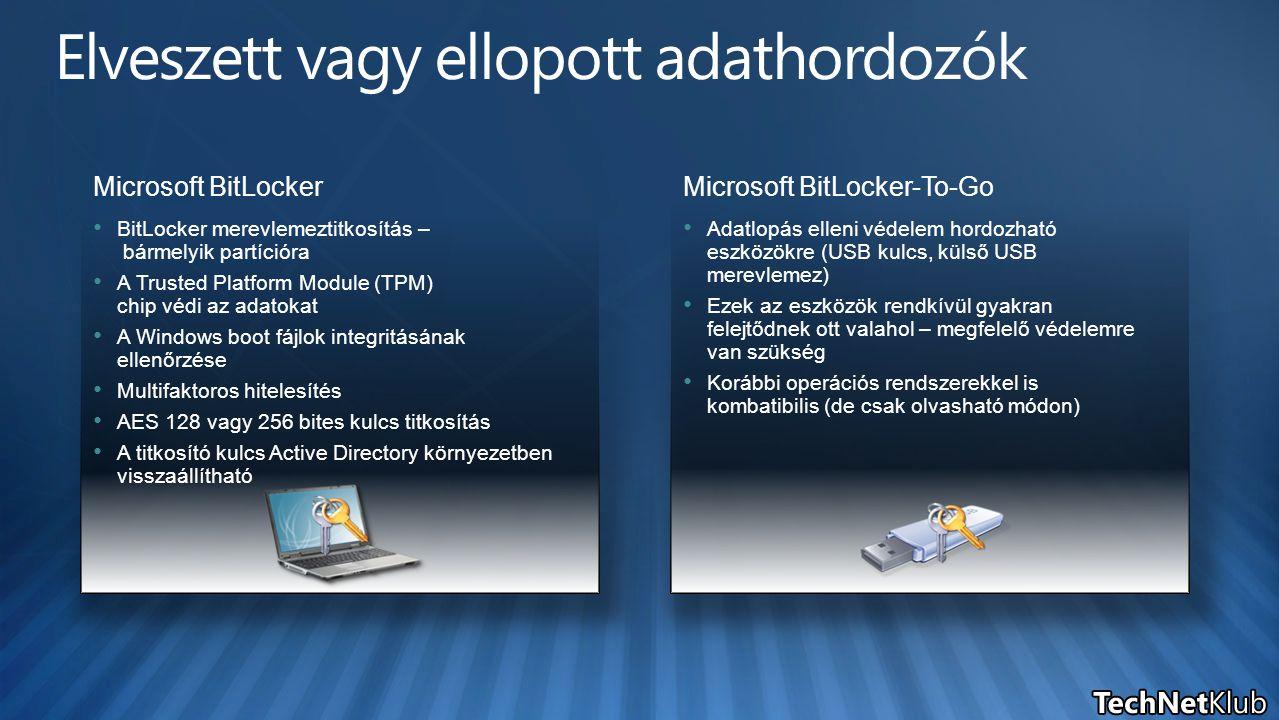 Microsoft BitLocker BitLocker merevlemeztitkosítás – bármelyik partícióra A Trusted Platform Module (TPM) chip védi az adatokat A Windows boot fájlok
