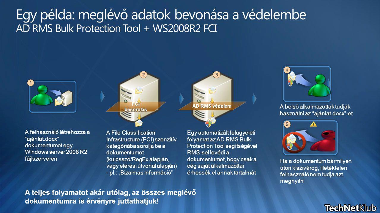 """4 5 A felhasználó létrehozza a """"ajánlat.docx"""" dokumentumot egy Windows server 2008 R2 fájlszerveren A File Classification Infrastructure (FCI) szenzit"""