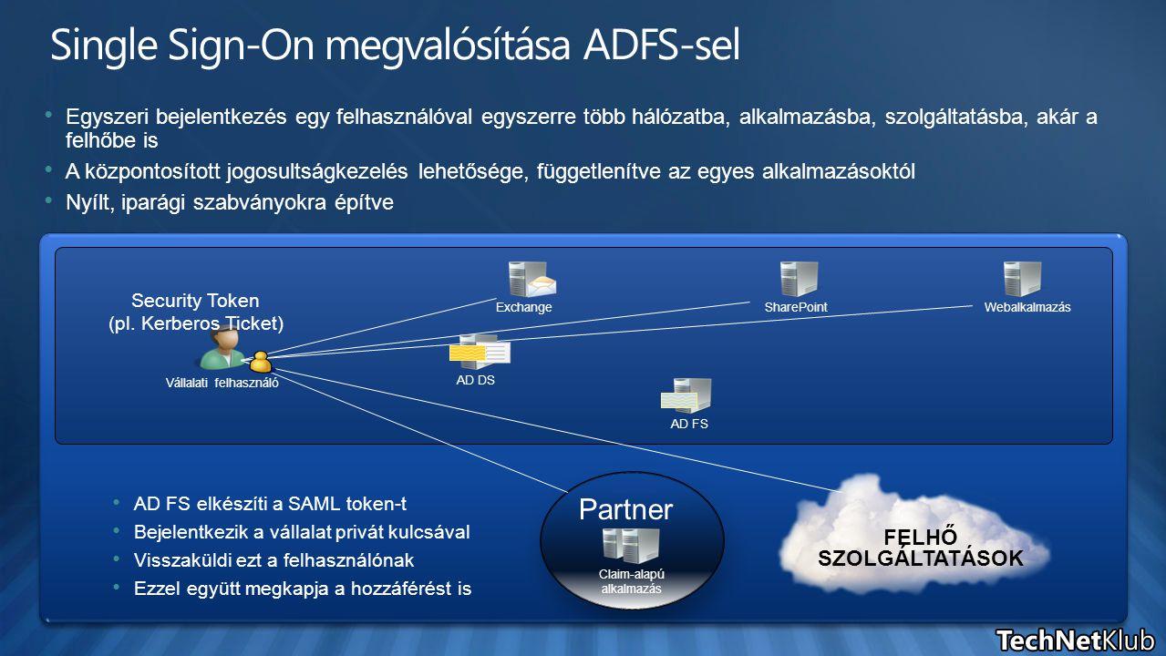 AD DSAD FS Egyszeri bejelentkezés egy felhasználóval egyszerre több hálózatba, alkalmazásba, szolgáltatásba, akár a felhőbe is A központosított jogosu