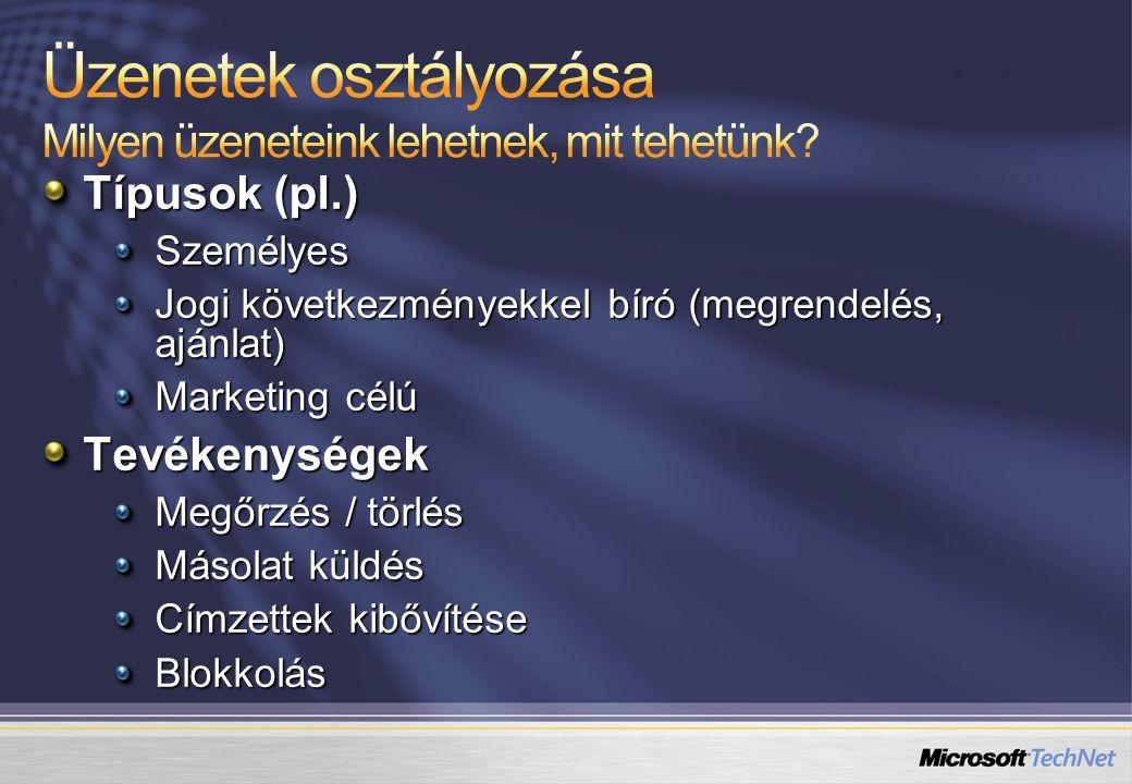 Típusok (pl.) Személyes Jogi következményekkel bíró (megrendelés, ajánlat) Marketing célú Tevékenységek Megőrzés / törlés Másolat küldés Címzettek kibővítése Blokkolás