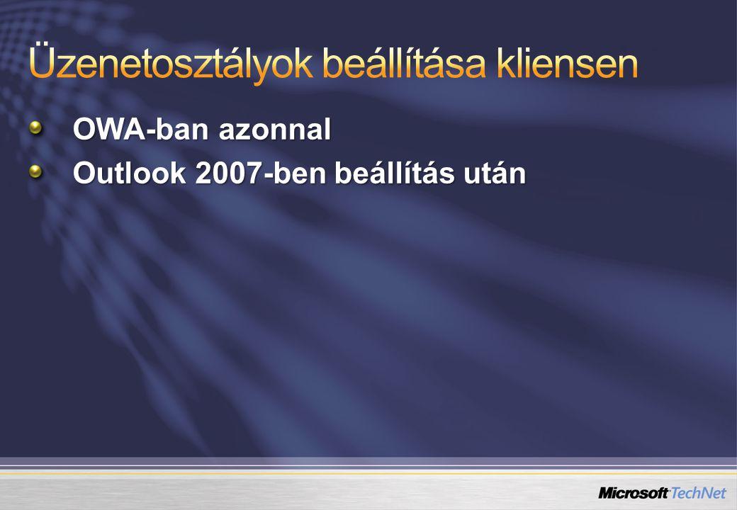 OWA-ban azonnal Outlook 2007-ben beállítás után