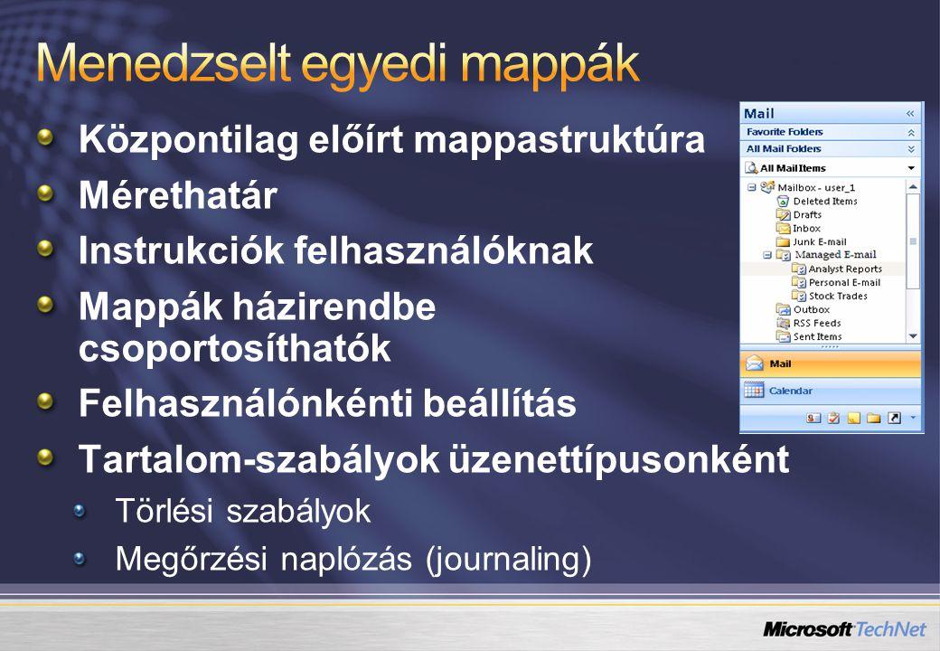 Központilag előírt mappastruktúra Mérethatár Instrukciók felhasználóknak Mappák házirendbe csoportosíthatók Felhasználónkénti beállítás Tartalom-szabályok üzenettípusonként Törlési szabályok Megőrzési naplózás (journaling)
