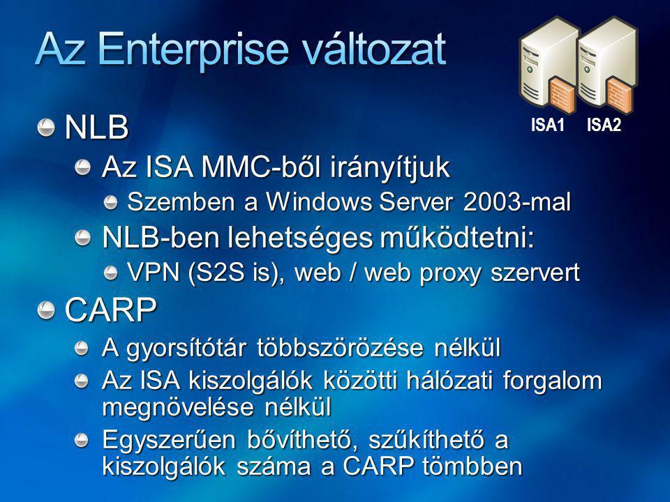 NLB Az ISA MMC-ből irányítjuk Szemben a Windows Server 2003-mal NLB-ben lehetséges működtetni: VPN (S2S is), web / web proxy szervert CARP A gyorsítótár többszörözése nélkül Az ISA kiszolgálók közötti hálózati forgalom megnövelése nélkül Egyszerűen bővíthető, szűkíthető a kiszolgálók száma a CARP tömbben ISA1ISA2