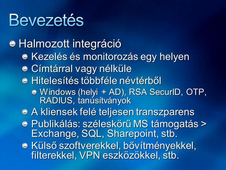 Hálózatkezelés Tetszőleges számú hálózatot kreálhatunk Előre definiált hálózatok Local Host Internal, External VPN Clients, Quarantined VPN Clients Mindegyik hálózatra érvényes Testreszabható szabályok Hálózatok közötti kapcsolat típusa (route / NAT) Web proxy / firewall kliensek tulajdonságai Web browser, domains, addresses opciók