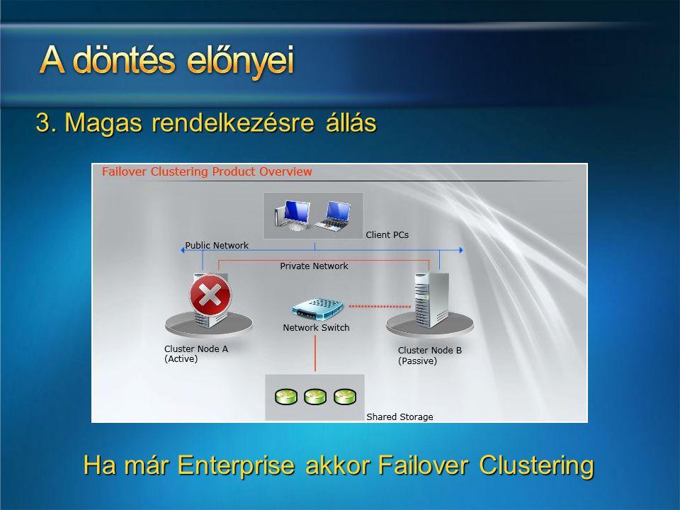3. Magas rendelkezésre állás Ha már Enterprise akkor Failover Clustering