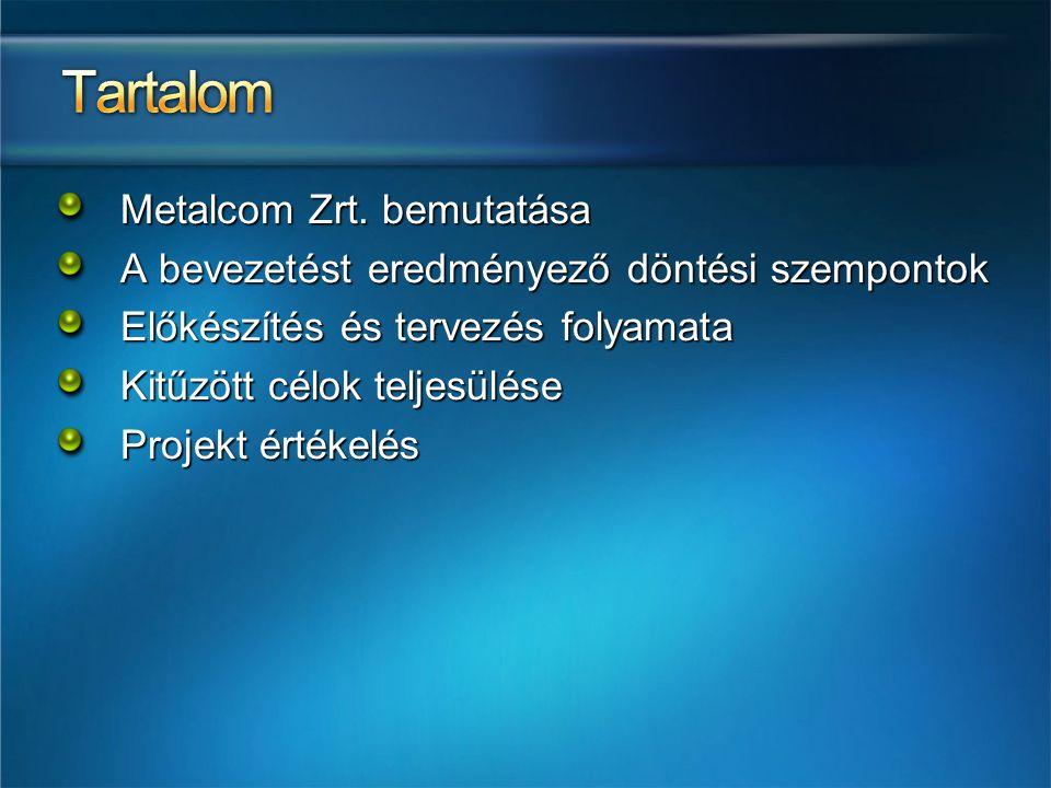 Metalcom Zrt. bemutatása A bevezetést eredményező döntési szempontok Előkészítés és tervezés folyamata Kitűzött célok teljesülése Projekt értékelés