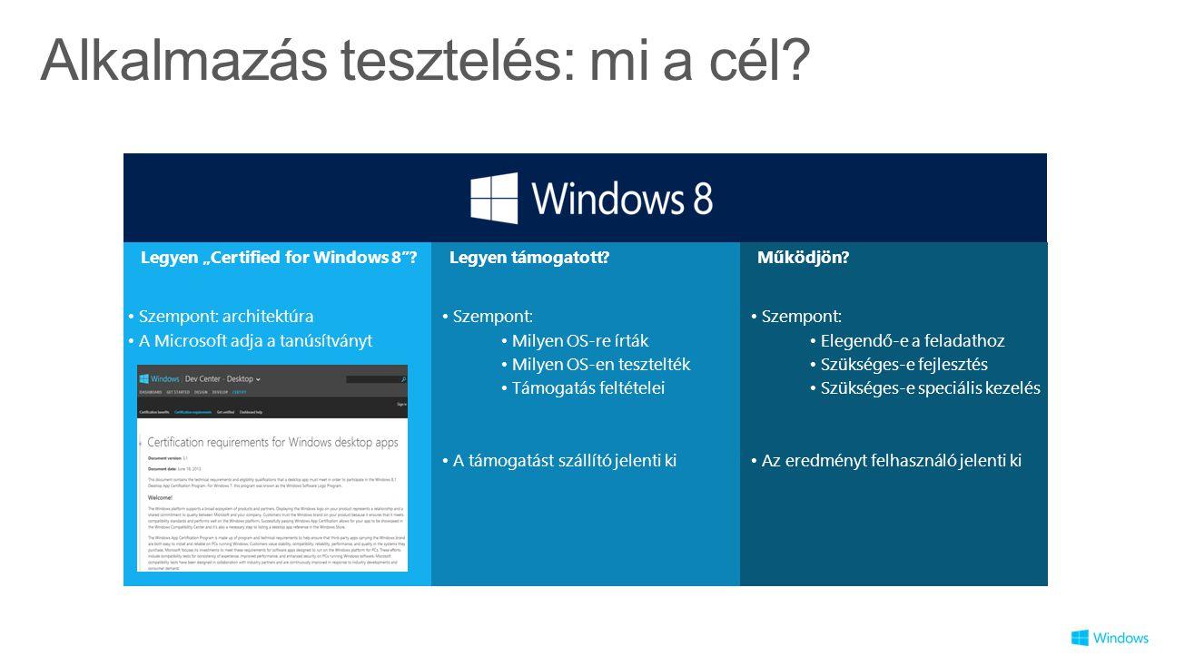"""Alkalmazás tesztelés: mi a cél? Legyen """"Certified for Windows 8""""?Működjön?Legyen támogatott? Szempont: architektúra A Microsoft adja a tanúsítványt Sz"""