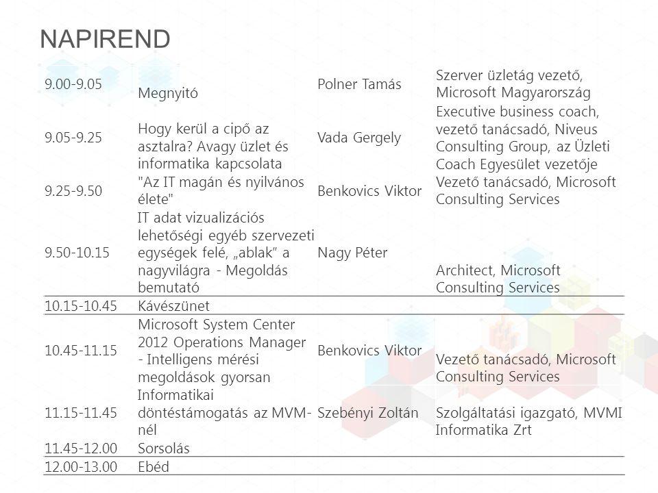 NAPIREND 9.00-9.05 Megnyitó Polner Tamás Szerver üzletág vezető, Microsoft Magyarország 9.05-9.25 Hogy kerül a cipő az asztalra.