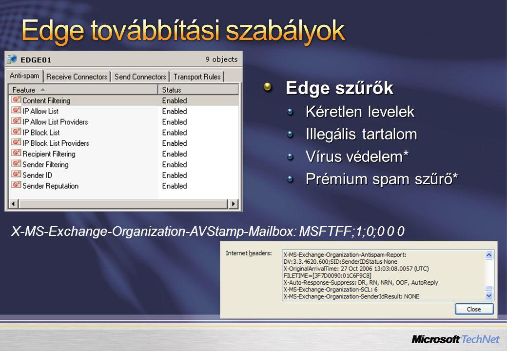 Edge szűrők Kéretlen levelek Illegális tartalom Vírus védelem* Prémium spam szűrő* X-MS-Exchange-Organization-AVStamp-Mailbox: MSFTFF;1;0;0 0 0