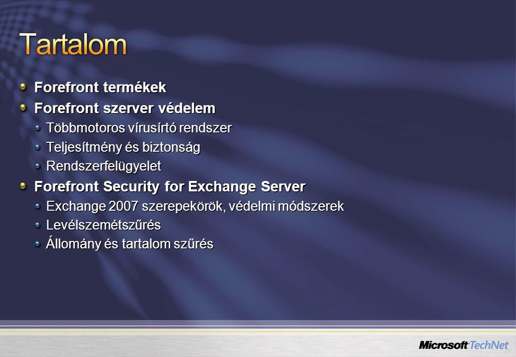 Forefront termékek Forefront szerver védelem Többmotoros vírusírtó rendszer Teljesítmény és biztonság Rendszerfelügyelet Forefront Security for Exchange Server Exchange 2007 szerepekörök, védelmi módszerek Levélszemétszűrés Állomány és tartalom szűrés