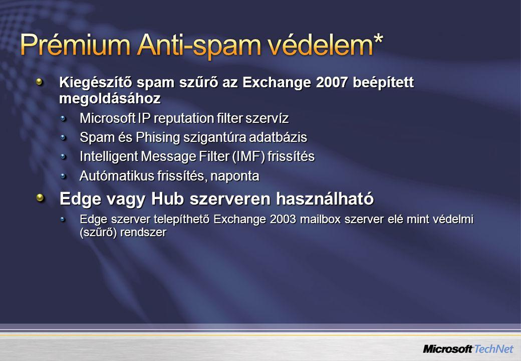 Kiegészítő spam szűrő az Exchange 2007 beépített megoldásához Microsoft IP reputation filter szervíz Spam és Phising szigantúra adatbázis Intelligent Message Filter (IMF) frissítés Autómatikus frissítés, naponta Edge vagy Hub szerveren használható Edge szerver telepíthető Exchange 2003 mailbox szerver elé mint védelmi (szűrő) rendszer
