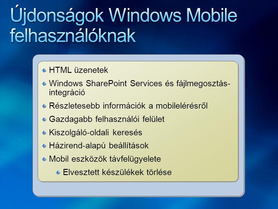HTML üzenetek Windows SharePoint Services és fájlmegosztás- integráció Részletesebb információk a mobilelérésről Gazdagabb felhasználói felület Kiszolgáló-oldali keresés Házirend-alapú beállítások Mobil eszközök távfelügyelete Elvesztett készülékek törlése HTML üzenetek Windows SharePoint Services és fájlmegosztás- integráció Részletesebb információk a mobilelérésről Gazdagabb felhasználói felület Kiszolgáló-oldali keresés Házirend-alapú beállítások Mobil eszközök távfelügyelete Elvesztett készülékek törlése