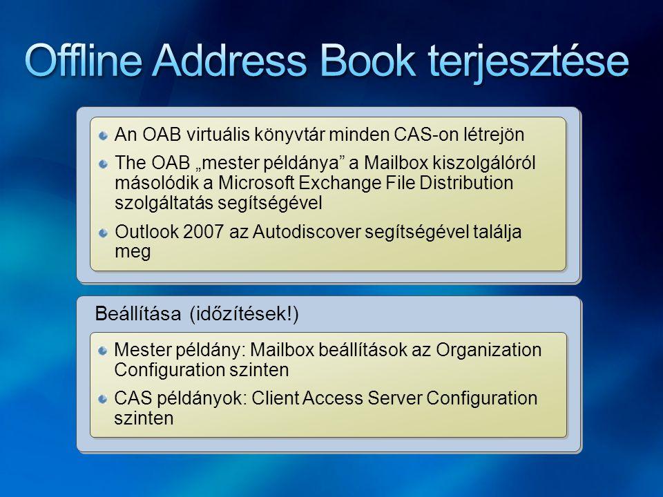 """An OAB virtuális könyvtár minden CAS-on létrejön The OAB """"mester példánya a Mailbox kiszolgálóról másolódik a Microsoft Exchange File Distribution szolgáltatás segítségével Outlook 2007 az Autodiscover segítségével találja meg An OAB virtuális könyvtár minden CAS-on létrejön The OAB """"mester példánya a Mailbox kiszolgálóról másolódik a Microsoft Exchange File Distribution szolgáltatás segítségével Outlook 2007 az Autodiscover segítségével találja meg Beállítása (időzítések!) Mester példány: Mailbox beállítások az Organization Configuration szinten CAS példányok: Client Access Server Configuration szinten Mester példány: Mailbox beállítások az Organization Configuration szinten CAS példányok: Client Access Server Configuration szinten"""