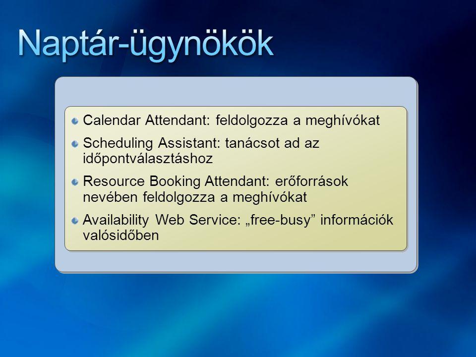 """Calendar Attendant: feldolgozza a meghívókat Scheduling Assistant: tanácsot ad az időpontválasztáshoz Resource Booking Attendant: erőforrások nevében feldolgozza a meghívókat Availability Web Service: """"free-busy információk valósidőben Calendar Attendant: feldolgozza a meghívókat Scheduling Assistant: tanácsot ad az időpontválasztáshoz Resource Booking Attendant: erőforrások nevében feldolgozza a meghívókat Availability Web Service: """"free-busy információk valósidőben"""