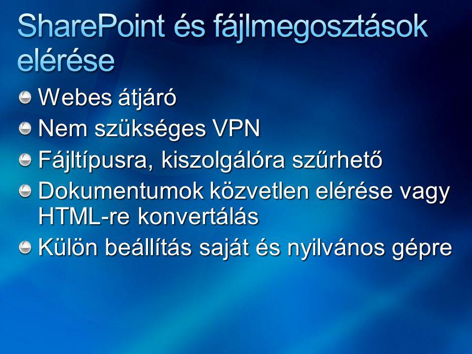 Webes átjáró Nem szükséges VPN Fájltípusra, kiszolgálóra szűrhető Dokumentumok közvetlen elérése vagy HTML-re konvertálás Külön beállítás saját és nyilvános gépre