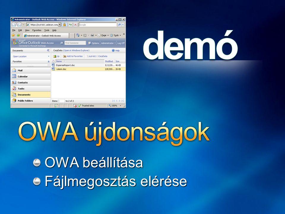 OWA beállítása Fájlmegosztás elérése