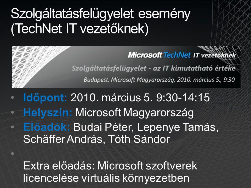 Szolgáltatásfelügyelet esemény (TechNet IT vezetőknek) Időpont: 2010. március 5. 9:30-14:15 Helyszín: Microsoft Magyarország Előadók: Budai Péter, Lep