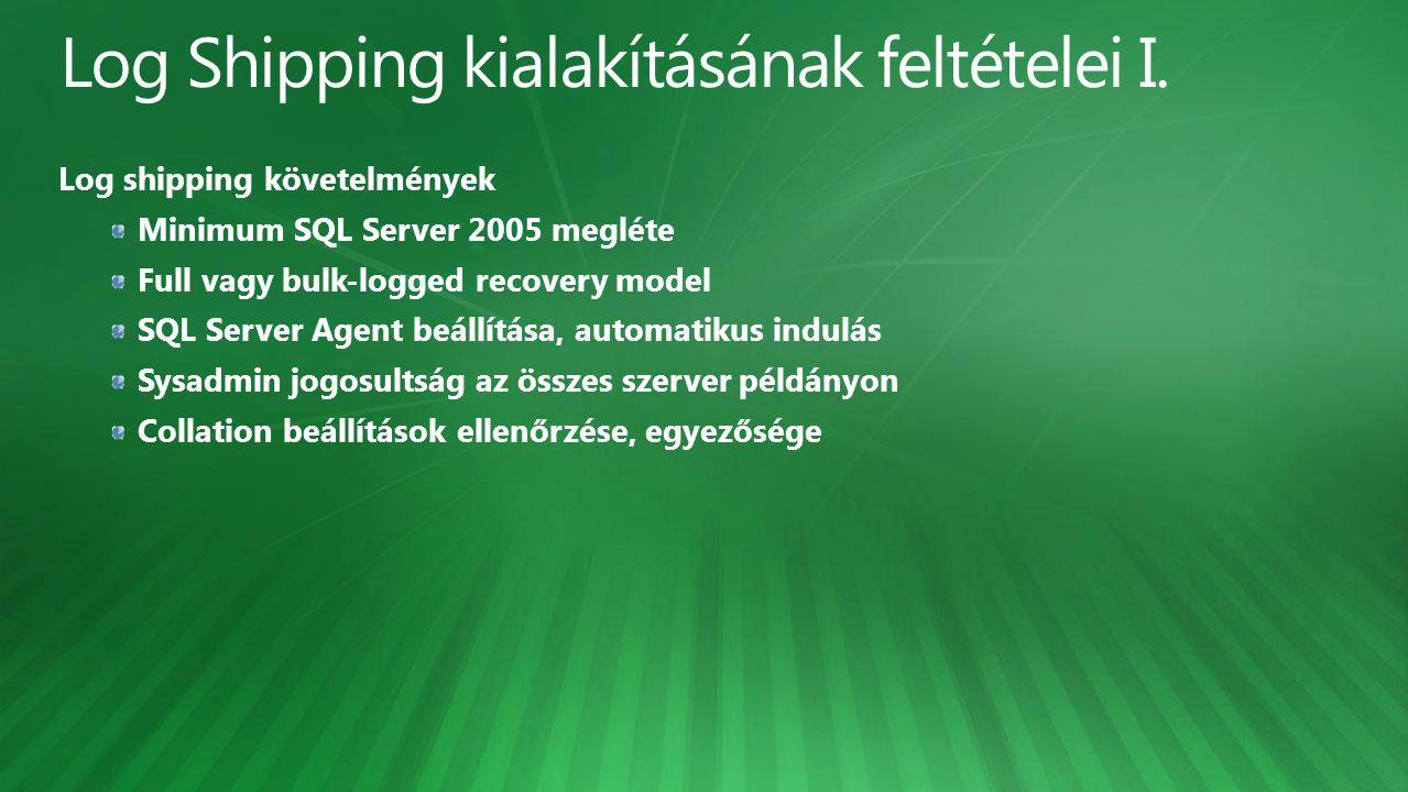 Log shipping követelmények Minimum SQL Server 2005 megléte Full vagy bulk-logged recovery model SQL Server Agent beállítása, automatikus indulás Sysad