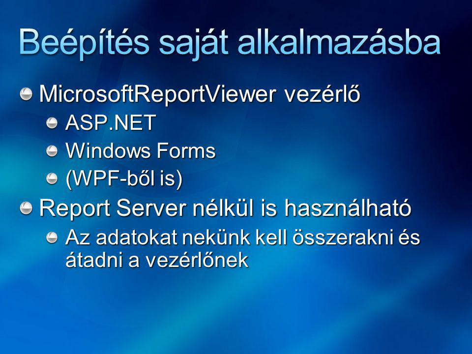 MicrosoftReportViewer vezérlő ASP.NET Windows Forms (WPF-ből is) Report Server nélkül is használható Az adatokat nekünk kell összerakni és átadni a vezérlőnek